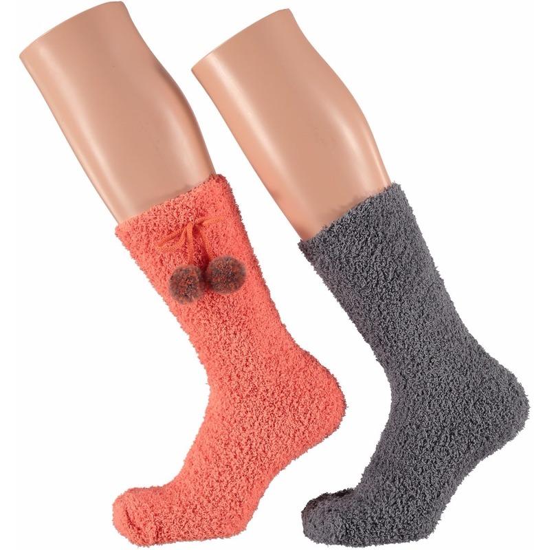 Dames bedsokken koraal oranje en grijs