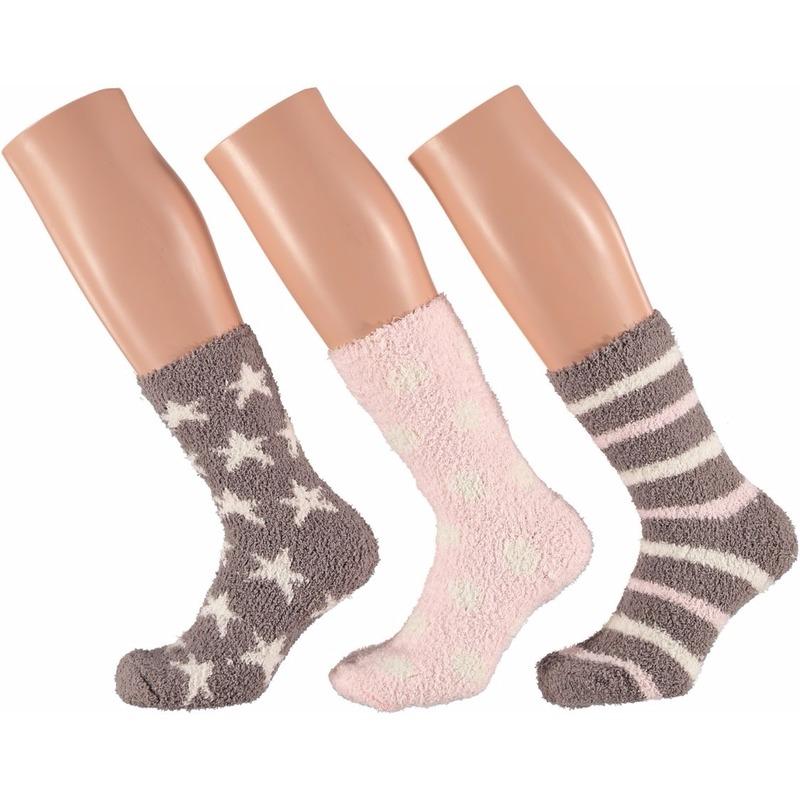 Dames bedsokken roze/bruin met sterren 3 paar