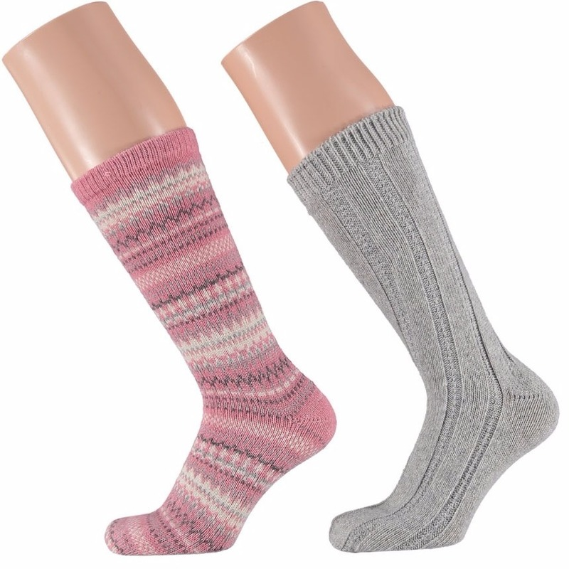 Dames bedsokken roze/grijs