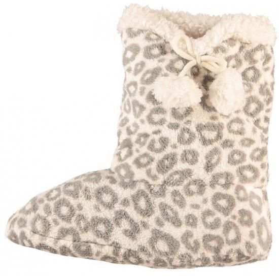 Dames pantoffel sokken luipaard motief in het grijs