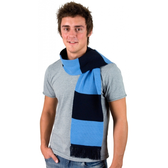 Donkerblauw met lichtblauw gestreepte heren sjaal