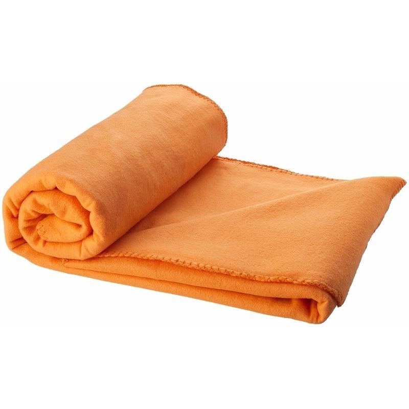 Fleece deken oranje 150 x 120 cm