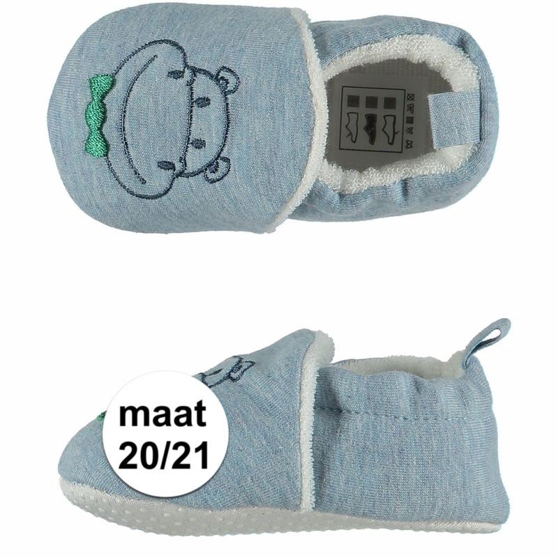 Geboorte kado jongetje baby slofjes met nijlpaard maat 20/21