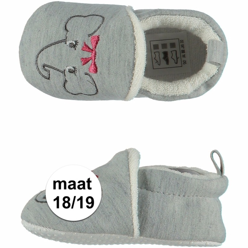 Geboorte kado meisjes baby slofjes met olifantje maat 18/19