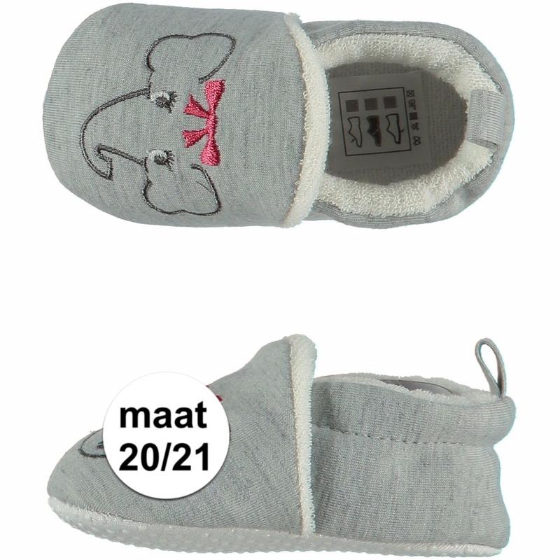 Geboorte kado meisjes baby slofjes met olifantje maat 20/21