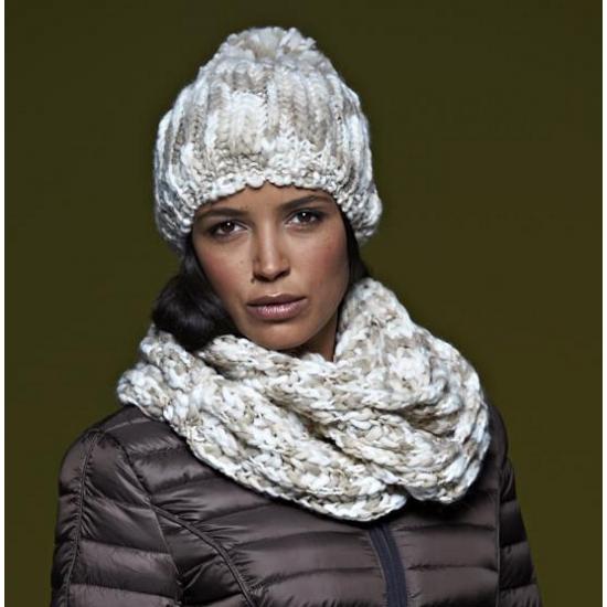 Gebreide trendy sjaal naturel/off white