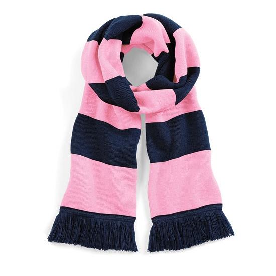 Gestreepte retro sjaal navy/roze