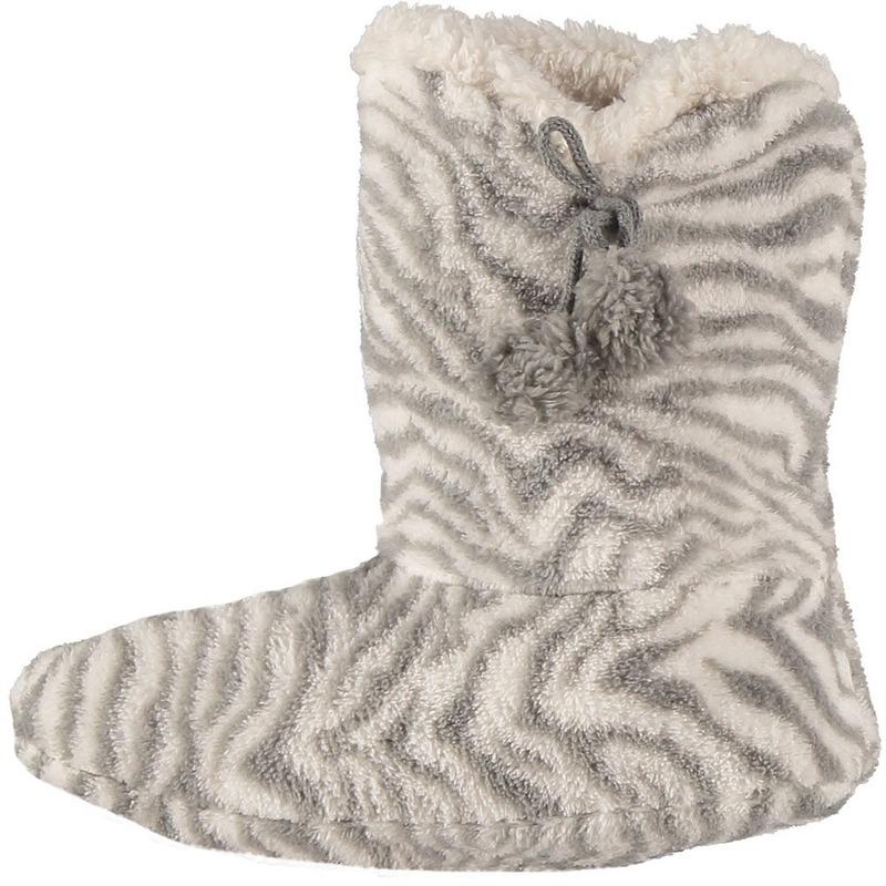 Grijze hoge huispantoffels/sloffen zebra voor dames