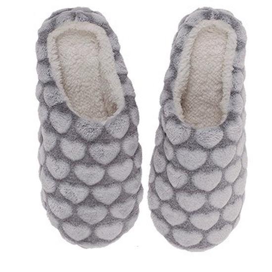 Instap sloffen - pantoffels hartjes grijs voor dames maat 36/37