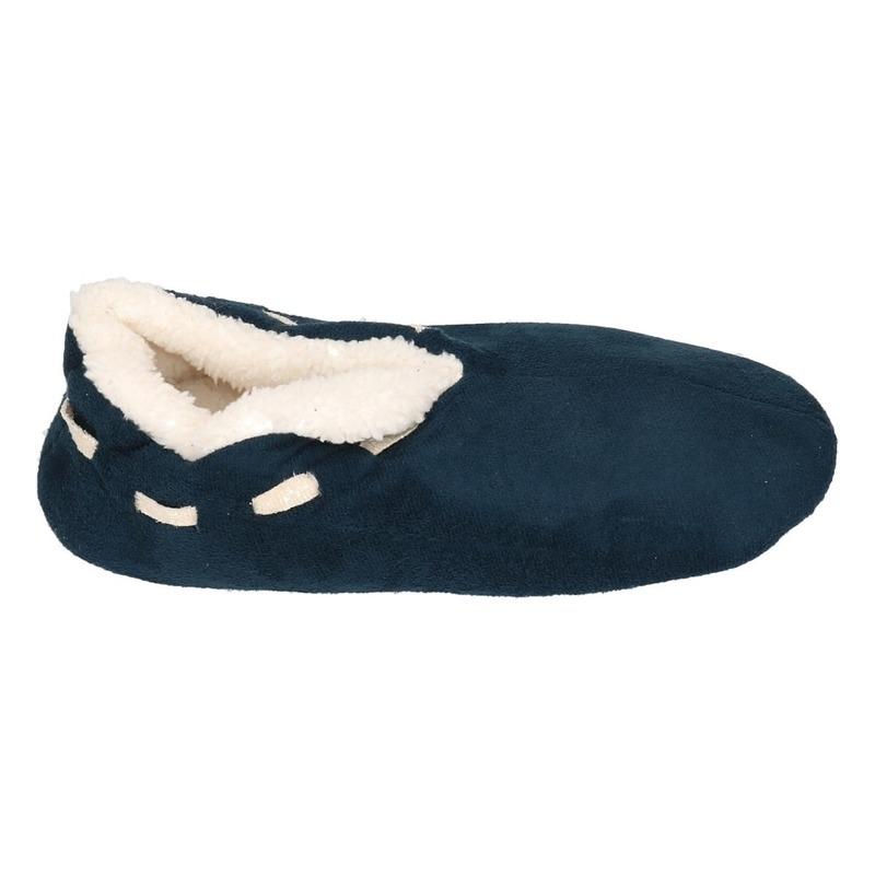 Jongens Spaanse sloffen/pantoffels navy blauw maat 35-36