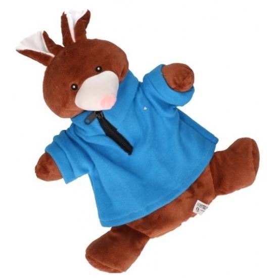 Kinderkruik bruin konijn met blauwe trui