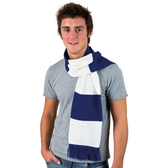 Kobalt blauw met wit gestreepte heren sjaal
