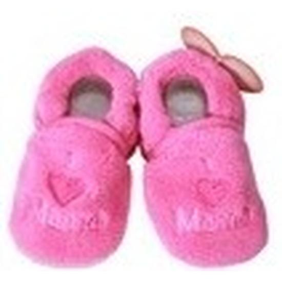 Kraamcadeau fuchsia roze babyslofjes/pantoffels love mama