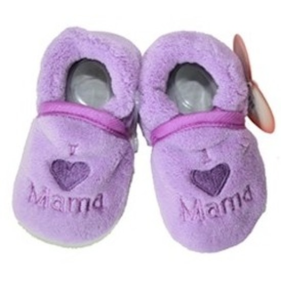 Kraamcadeau paarse babyslofjes/pantoffels love mama