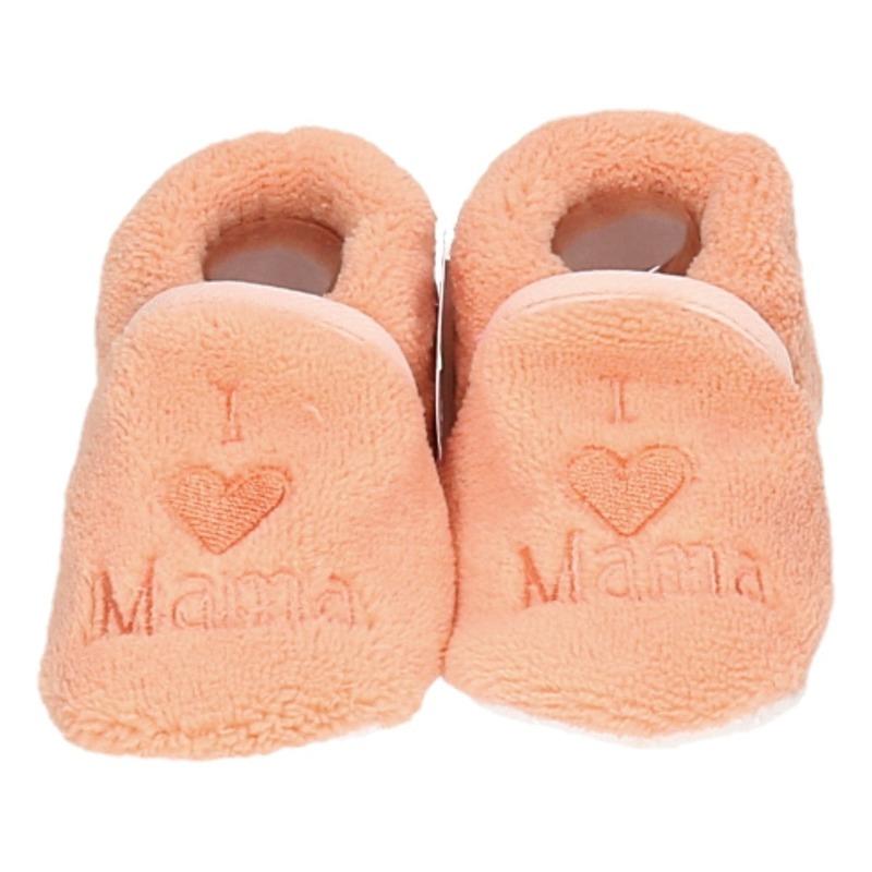 Kraamcadeau zalmroze babyslofjes/pantoffels love mama