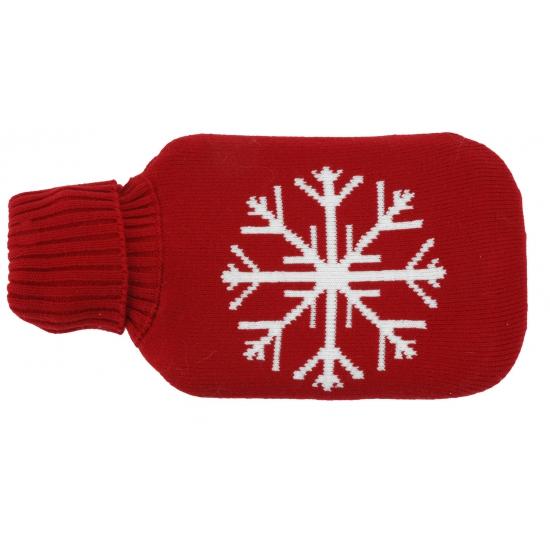 Kruik met rode hoes met sneeuwvlok
