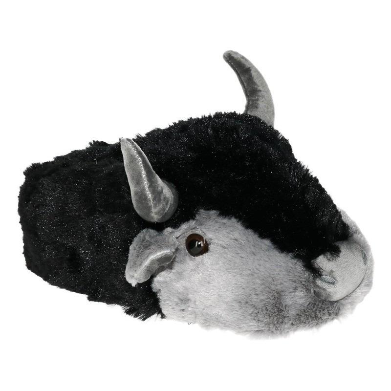 Pluche warme dieren pantoffels koe/stier met hoorns voor dames - maat 41/42