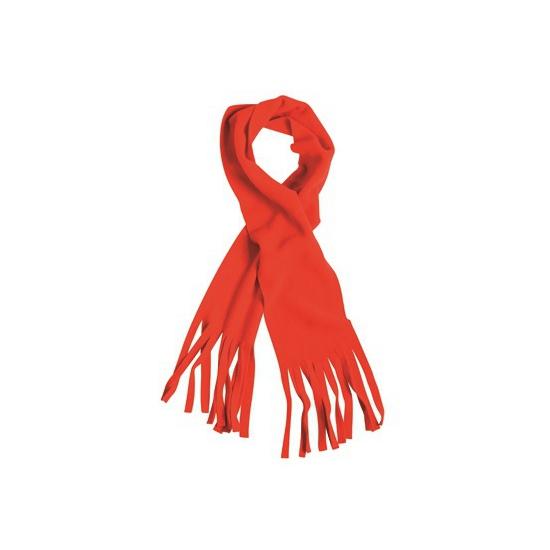 Rode winter fleece sjaal met franjes