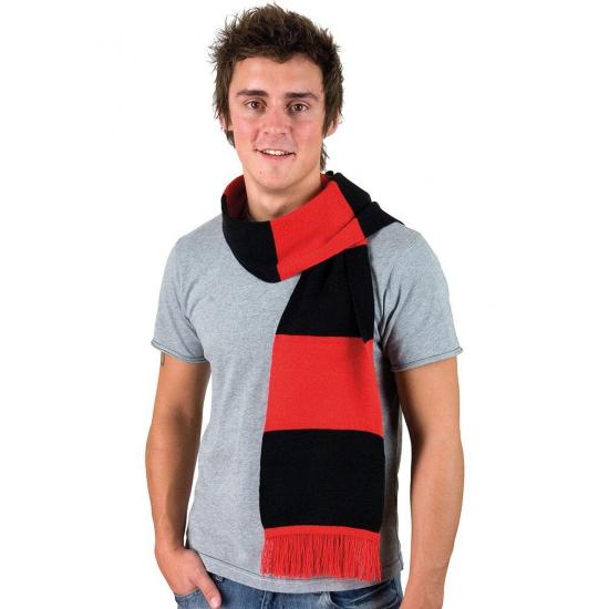 Rood met zwart gestreepte heren sjaal