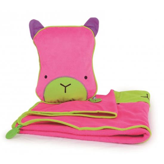 Roze slaapset deken en kussen