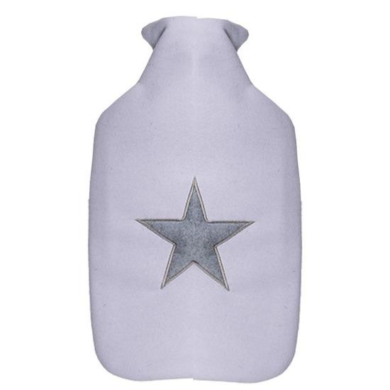 Sterretjes warm water kruik wit/grijs 2 liter