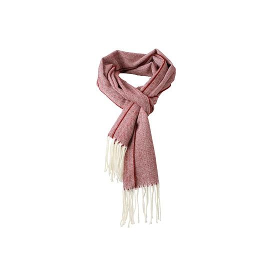 Visgraat sjaal met gedraaide franje rood