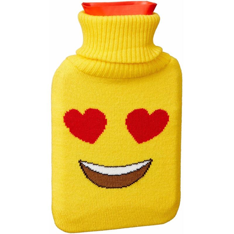 Warm water kruik 1 liter geel met hartjesogen emoticon