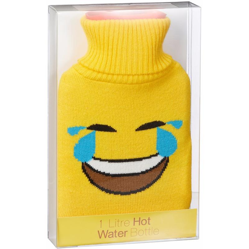 Warm water kruik 1 liter geel met LOL emoticon