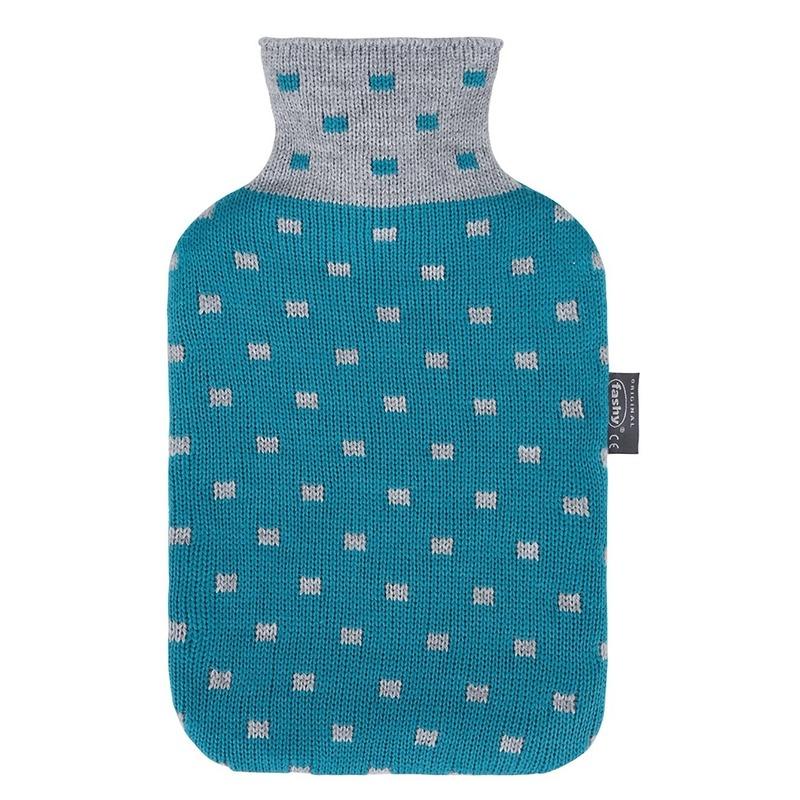 Warm water kruiken blauw/grijs hoes 2 liter