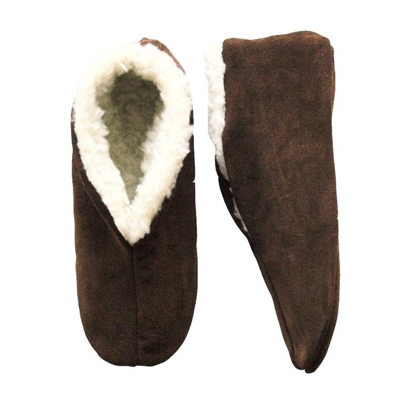 Warme wollen bruine Spaanse sloffen/pantoffels voor dames/heren/volwassenen