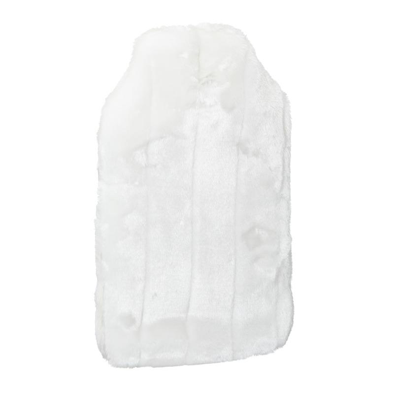 Warmwater kruik met pluche hoes creme/wit