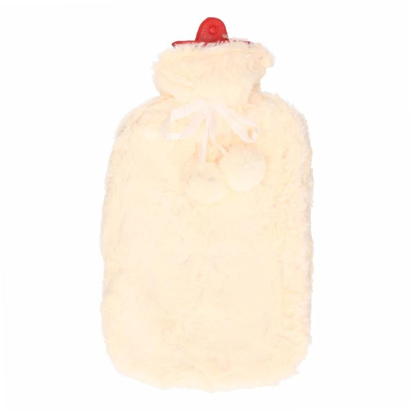 Warmwater kruik met pluche hoes ecru 2 liter