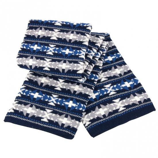 Winter sjaal met blauw/witte print