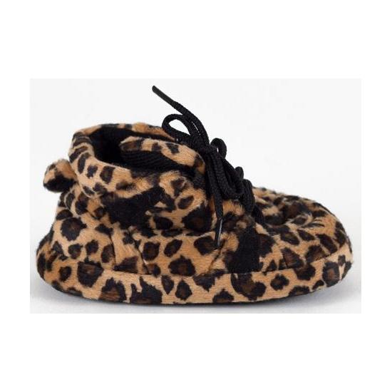 Zachte baby slofjes luipaard bruin