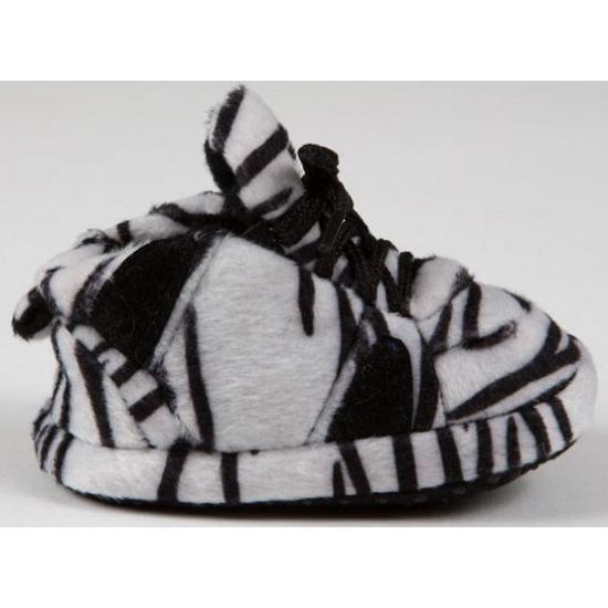 Zachte baby slofjes zebra zwart/wit