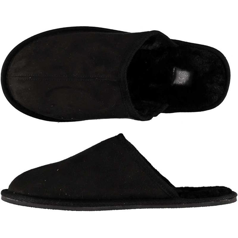 Zwarte instappers pantoffels/sloffen maat 45-46 voor heren