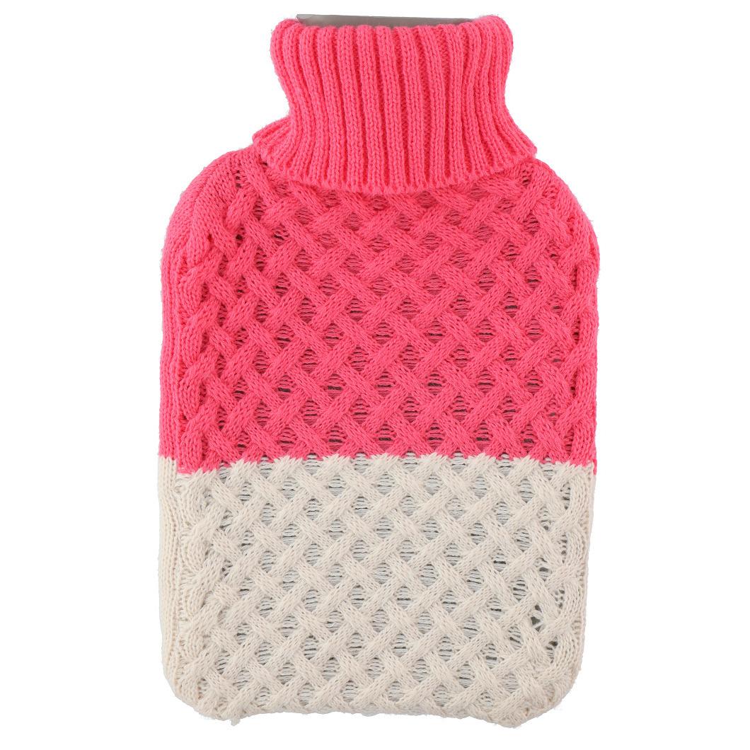 1x Kruik met gebreide hoes roze/beige 2 liter