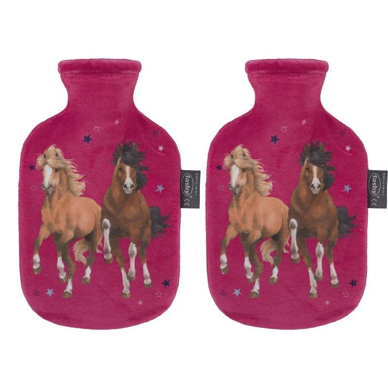 2x Fuchsia roze kruiken 0,8 liter met paard/pony dieren hoes 0,8 liter