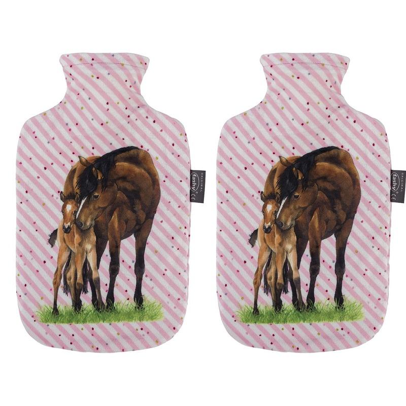 2x Gestreepte roze kruiken 2 liter met paard/pony dieren hoes 2 liter