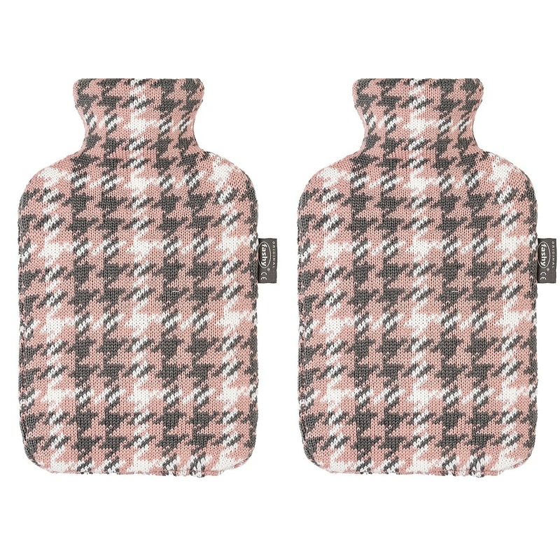 2x Grijze/roze/witte kruiken 2 liter met Pied-de-poulee hoes 2 liter