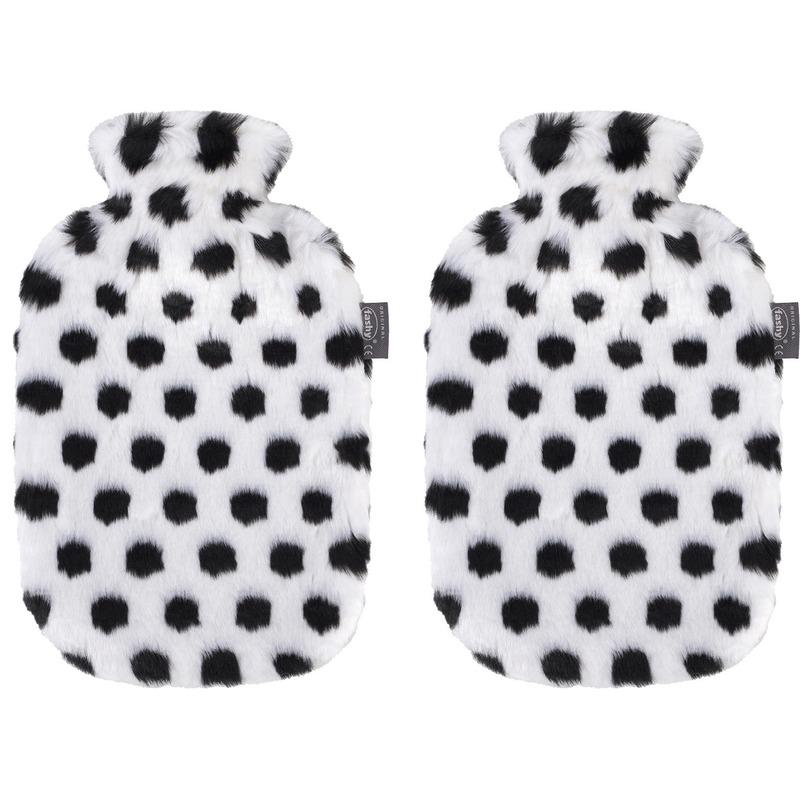 2x Zwarte/witte kruiken 2 liter met zachte neppe zebra dierenvacht hoes 2 liter