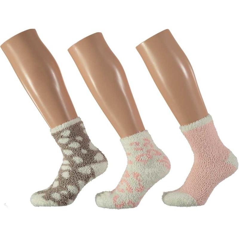 3-pack warme huissokken panter roze/wit voor meisjes