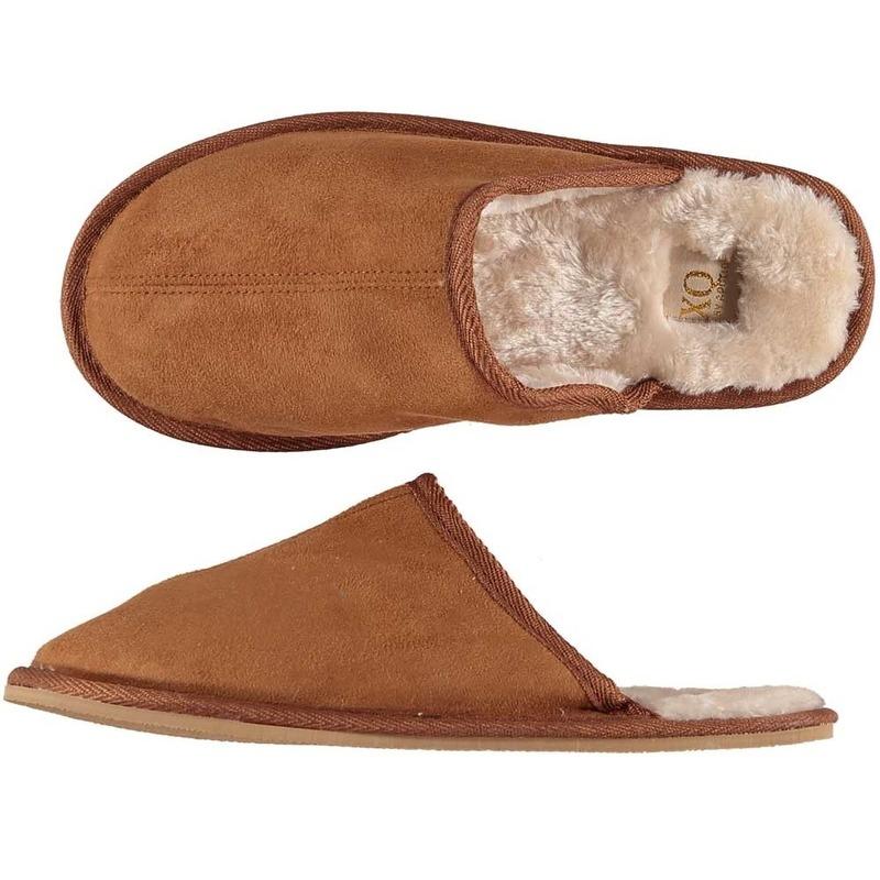 Bruine instappers pantoffels/sloffen maat 41-42 voor heren