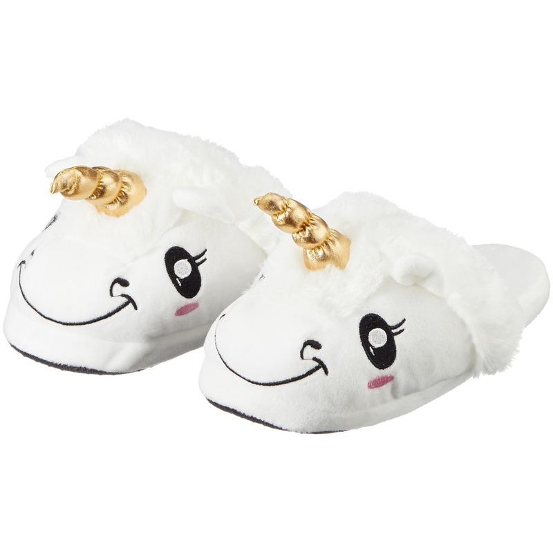 Cadeau damesslofjes/pantoffels eenhoorn/unicorn met anti-slip zool voor dames