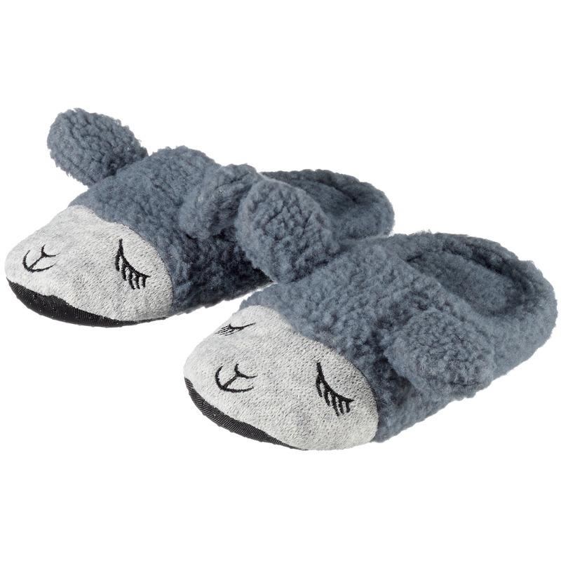 Cadeau kinderslofjes/pantoffels lama/alpaca grijs met anti-slip zool voor kinderen
