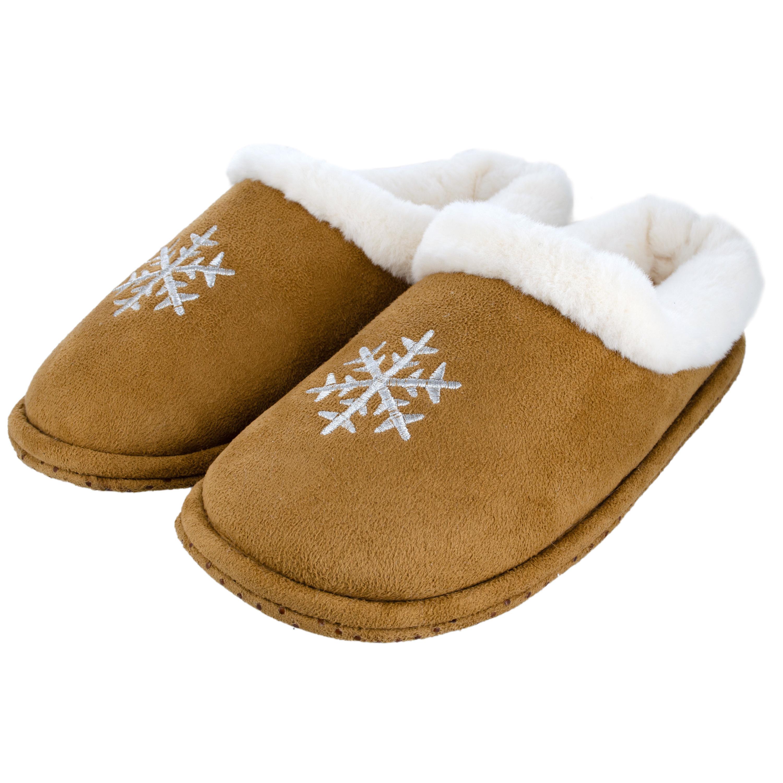 Cognac bruine sneeuwvlok pantoffels/sloffen voor dames