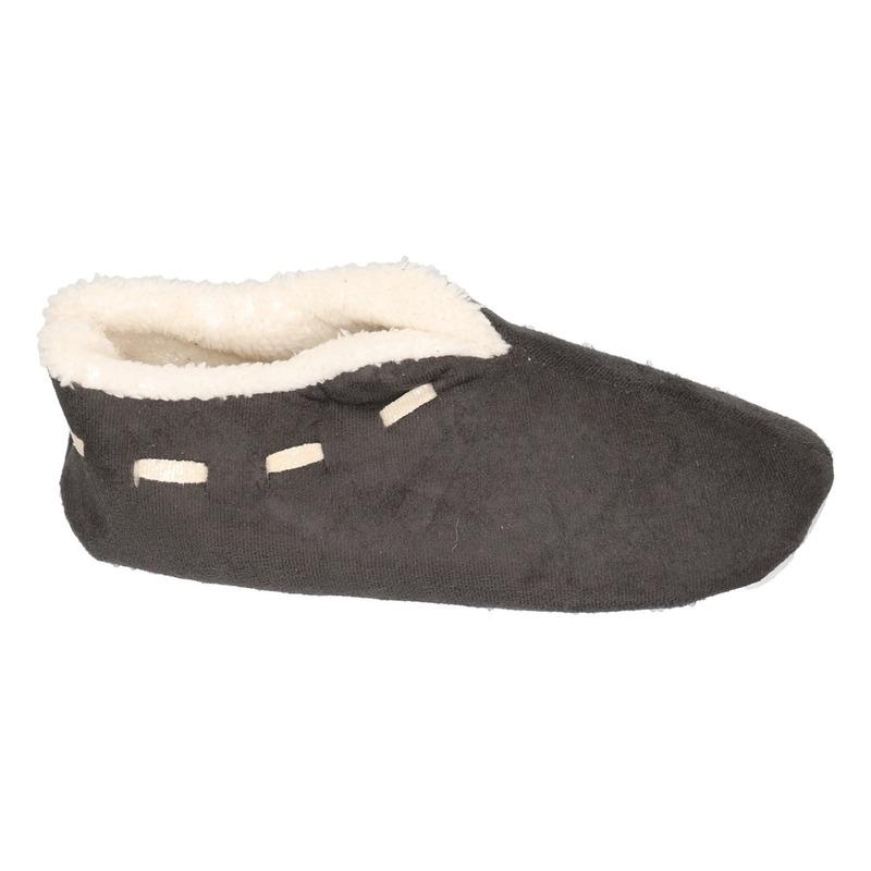 Dames Spaanse sloffen/pantoffels donkergrijs