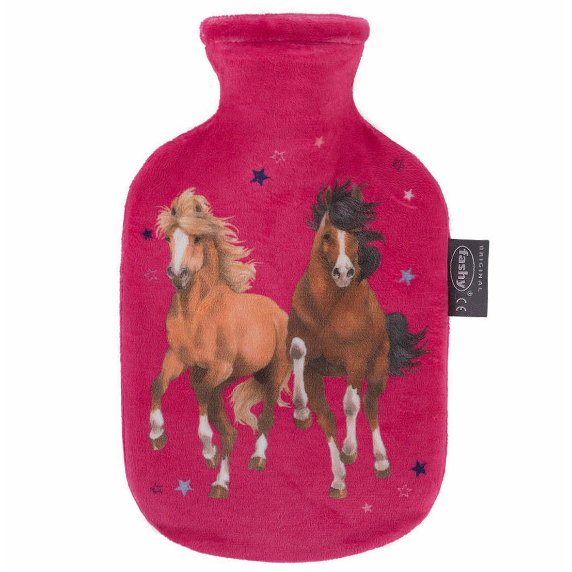 Fuchsia roze kruiken 0,8 liter met paard/pony dieren hoes 0,8 liter