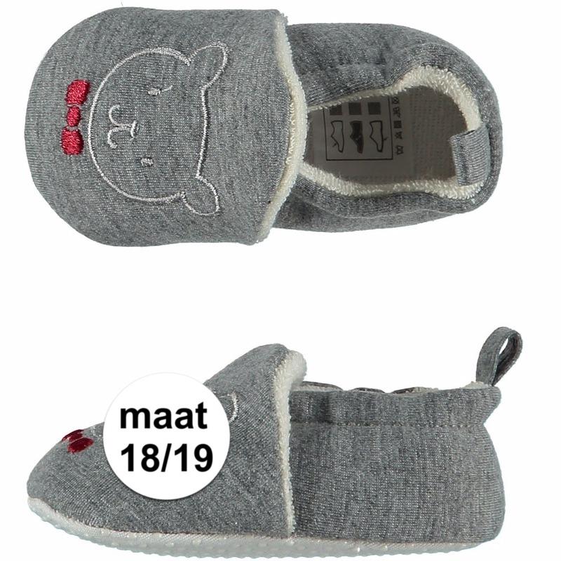 Geboorte kado jongetje baby slofjes met beer maat 18/19