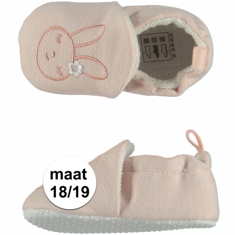 Geboorte kado meisjes baby slofjes met konijntje maat 18/19